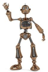funny robot waving