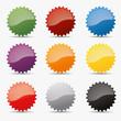 Button set zacken kreis zahnrad icon farben globus shine badge