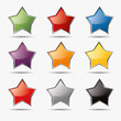 Button set stern sternchen icon farben sternschnuppe aqua shine