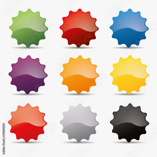 Button set zacken kreis zahnrad icon farben globus shine badge