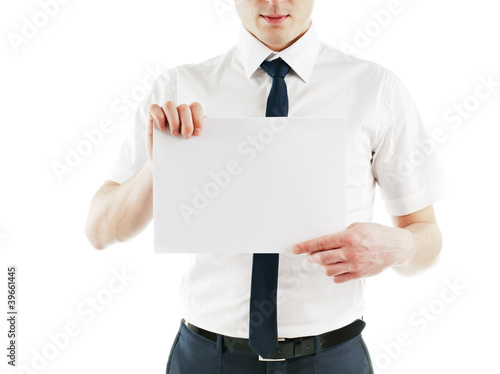 young business man holding blank white card ready for your text
