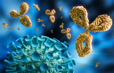 Virus mit Antikörper