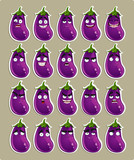 cartoon eggplant smile with many expressions stickers