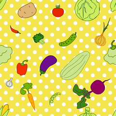 seamless yellow background(EPS 8) cartoon vegetables circles
