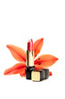 New lipstick and lily flowers, isolated on white background