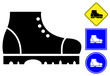 Safety shoes pictogram and sign