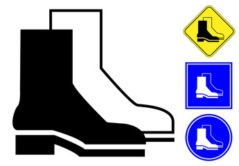 Protective Footwear pictogram and signs