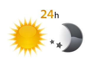 24 hours sign. Sun and Moon vector