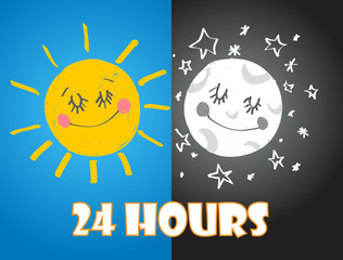 24 hours vector sign with sun and moon