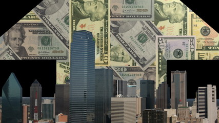 Dallas skyline with rising dollars arrow animation
