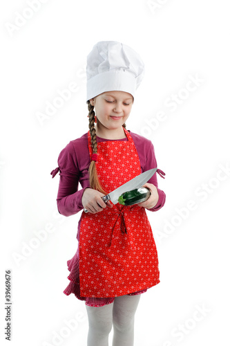 Girl with zucchini