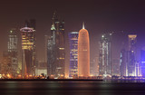 Doha skyline at night, Qatar, Middle East poster