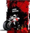 Grunge red background with motorcycle image. Iron horse. Vector