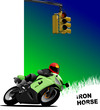 Natural  background with motorcycle image. Iron horse. Vector il