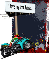 Natural  background with motorcycle image and billboard. Iron ho