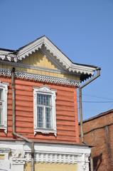 Window of wooden houses.