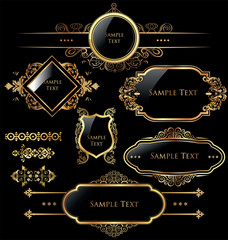 Elegant gold and black labels