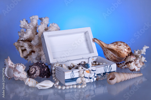 box with seashells, coral and pearls - 39671496