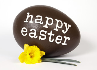 Chocolate easter egg with text: Happy Easter.