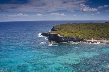 Blue caribbean seas around Guadeloupe