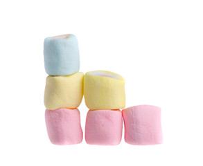 stack colorful marshmallows on a white background