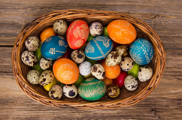 Easter hand painted eggs in basket