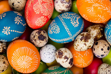 Easter hand painted colored eggs