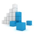 Bar chart diagram with top leader of blue blocks