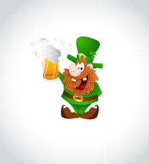 Illustration of Leprechaun with Beer