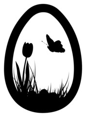 Easter egg with tulip, eggs, and butterfly