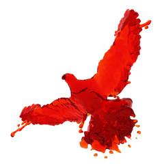Pigeon of red liquid