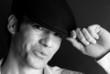 Handsome man portrait hat black and white