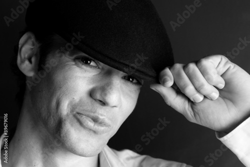 Handsome man portrait hat black and white