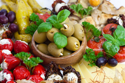 antipasti selection with olives