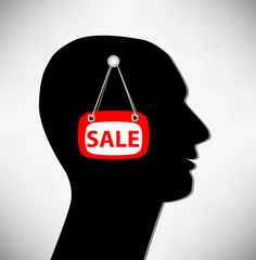 Conceptual Illustration of a man. Brains for sale.