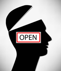 Conceptual Illustration of a open minded man. A man with an open