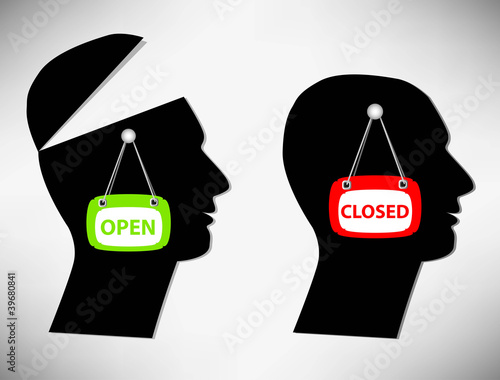 Conceptual Illustration of a man. A person with an open head cov