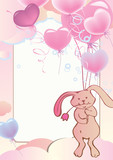 Rabbit flying on balloons.