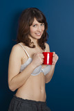 Hot girl drinking a Hot Coffee poster