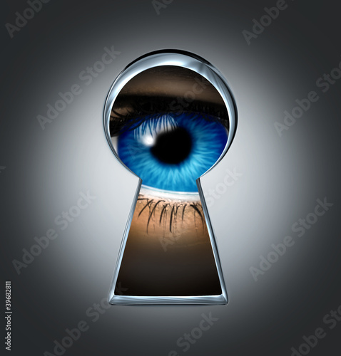 Eye Looking Through A Keyhole