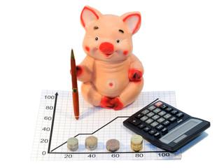 Копилка свинья с ручкой и калькулятором