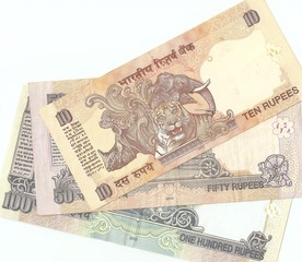 Indian banknotes - 10, 50 and 100 Indian rupees