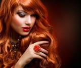 Wavy Red Hair. Fashion Girl Portrait