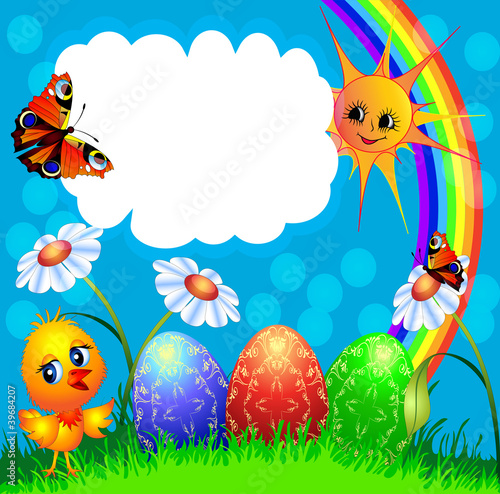 easter background with egg and amusing chicken and rainbow