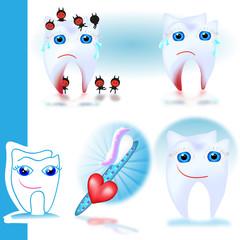 zähne - karies - wurzeleiterung - zahnbürste