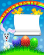 easter background with egg and amusing rabbit and rainbow