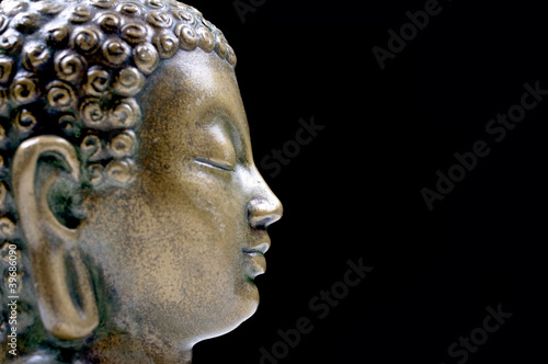 Bronze Buddha isolated profile