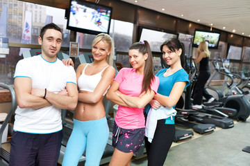 young  healthy  people in gym