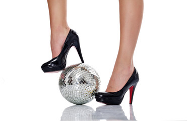 high heel with disco ball, disco fashion