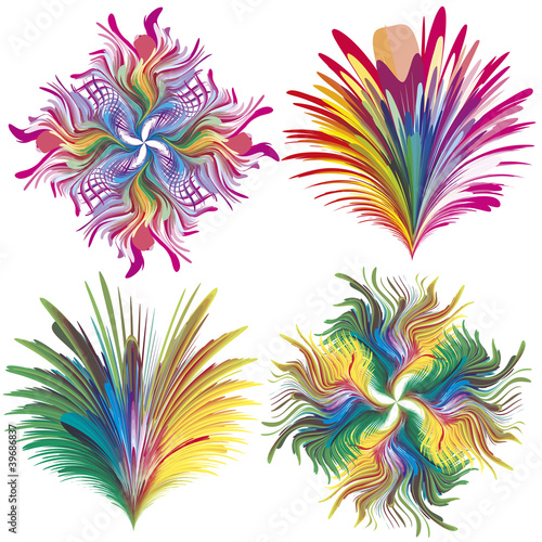 Set of baroque vector flowers in rainbow colors